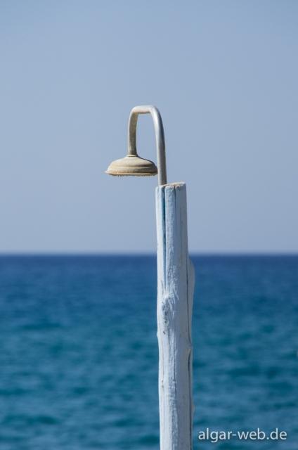 Dusche am Strand, Kalamaki, Kreta