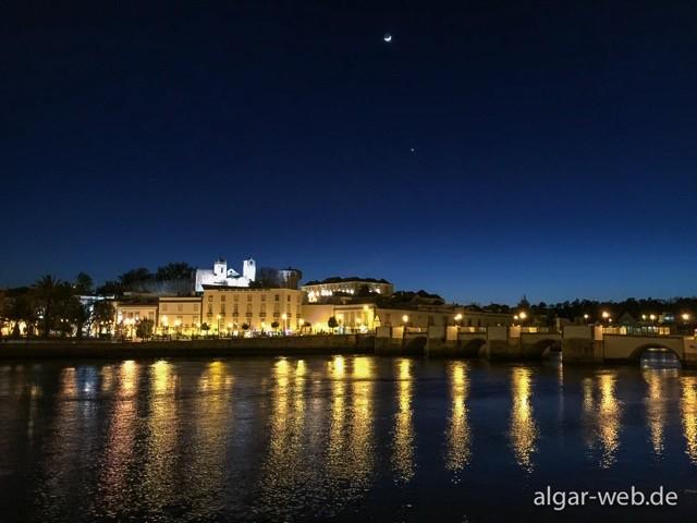Blick über den Fluss, Pessoa's Cafe, Tavira, Algarve